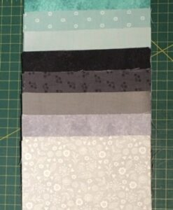 Pre Cut fabric Squares Teal & Grey Charm Pack 40 x 5 inch