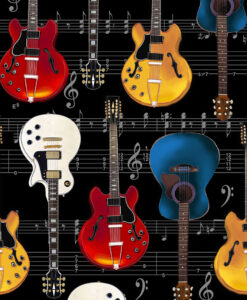 Fabric Timeless Treasures C7195 Guitars & Music