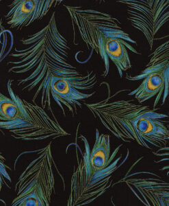 Fabric Timeless Treasures CM3550 Metallic Peacock Feathers