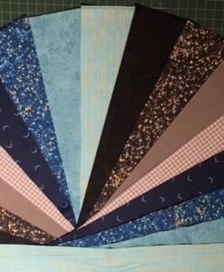 2.5 inch Pre Cut fabric Libs Metallic Mix Blues and Greys Pack of 16