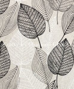 Fabric Chatham Glyn Linen Sparkle Leaves Mono