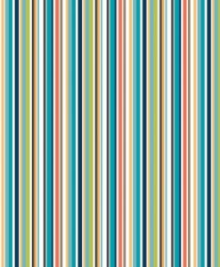 Fabric Makower UK Jungle Stripe Blue Multi 2203/B
