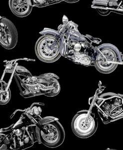 Fabric Timeless Treasures C7717 Motorbikes Black