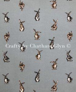 Fabric Chatham Glyn Canvas Shabby Hares Grey