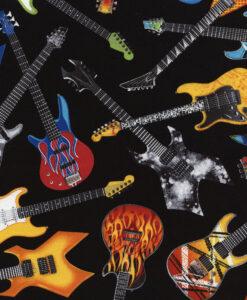 Fabric Timeless Treasures C4824 Electric Guitars Black