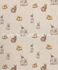 Fabric Chatham Glyn Linen Digital Bunny Rabbits