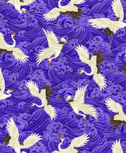Fabric Timeless Treasures CM7878 Metallic Koko Cranes Purple