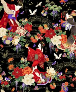 Fabric Timeless Treasures CM7873 Metallic Koko Geishas