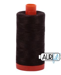 Aurifil 50WT Cotton Thread 1130 Dk Brown 1300 m spool