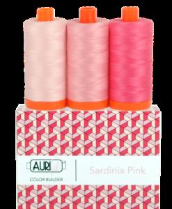 Aurifil 50WT Colour Builders Sardinia Pink x 3 Spools
