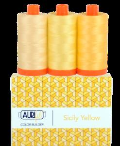 Aurifil 50WT Colour Builders Sicily Yellow x 3 Spools