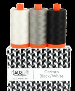 Aurifil 50WT Colour Builders Carrara Black/White x 3 Spools