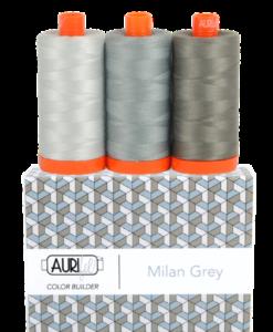 Aurifil 50WT Colour Builders Milan Grey x 3 Spools