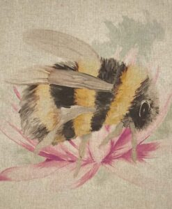 Fabric Chatham Glyn Linen Digitally Printed Panel of 3 Bees with Flower