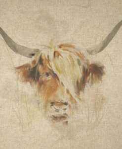 Fabric Chatham Glyn Linen Digitally Printed Panel of 3 Highland Cows