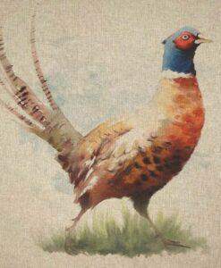 Fabric Chatham Glyn Linen Digitally Printed Panel of 3 Pheasants