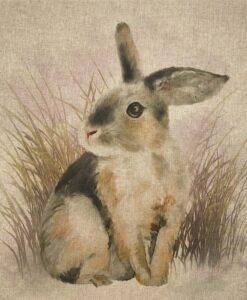 Fabric Chatham Glyn Linen Digitally Printed Panel of 3 Rabbits